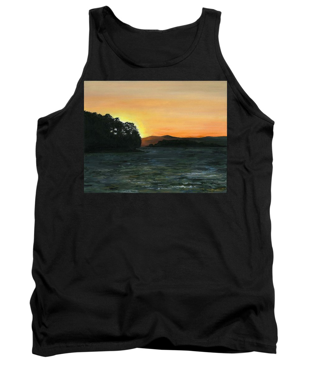Landscape Tank Top featuring the painting Lake Champlain Adirondack Mountains Vt/ny by Judith Rice