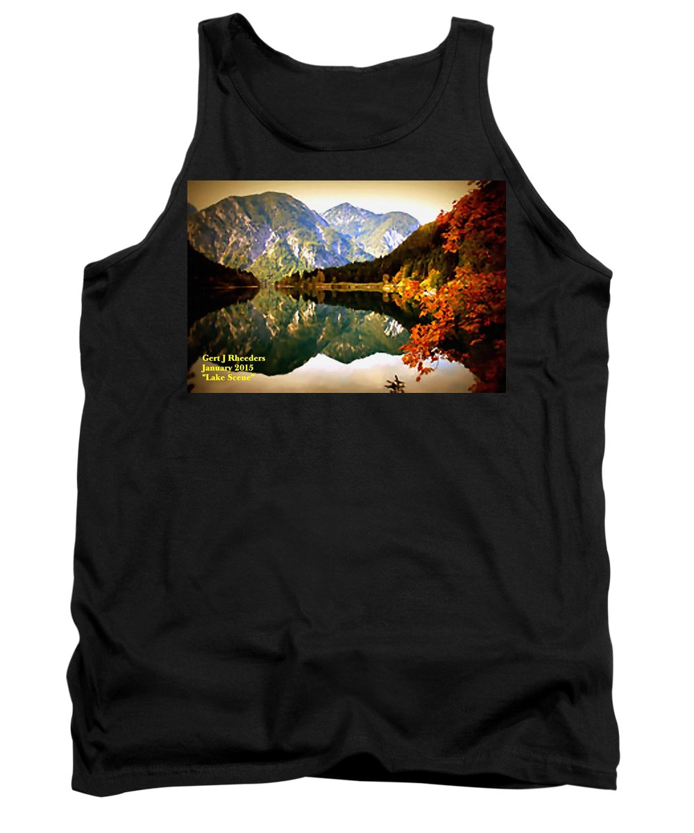 Announcement Tank Top featuring the painting Lake Scene H A by Gert J Rheeders