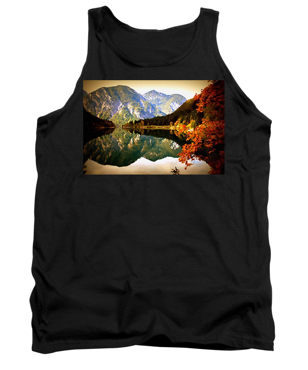 Announcement Tank Top featuring the painting Lake Scene H B by Gert J Rheeders