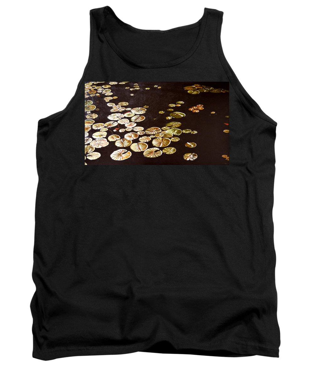 Lily Pad Tank Top featuring the painting Lake Washington Lily Pad 10 by Thu Nguyen