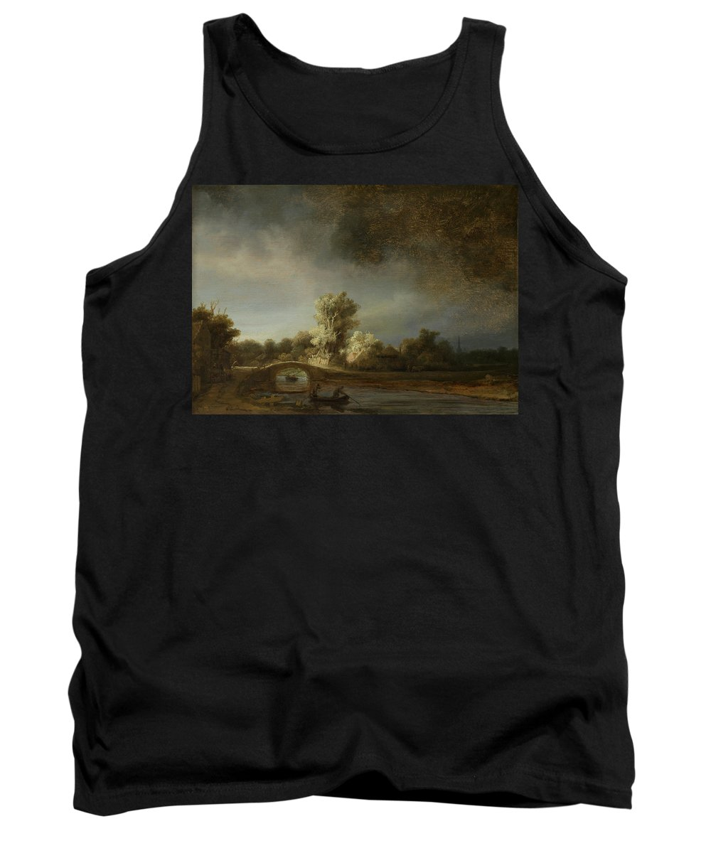 Rembrandt Tank Top featuring the painting Landscape With A Stone Bridge by Rembrandt van Rijn