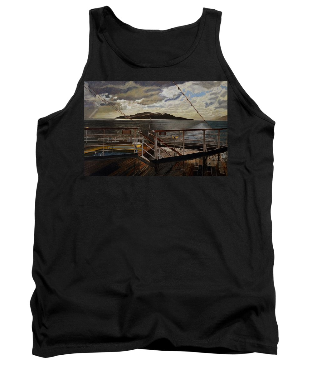 Queen Charlotte Sound Tank Top featuring the painting Leaving Queen Charlotte Sound by Thu Nguyen