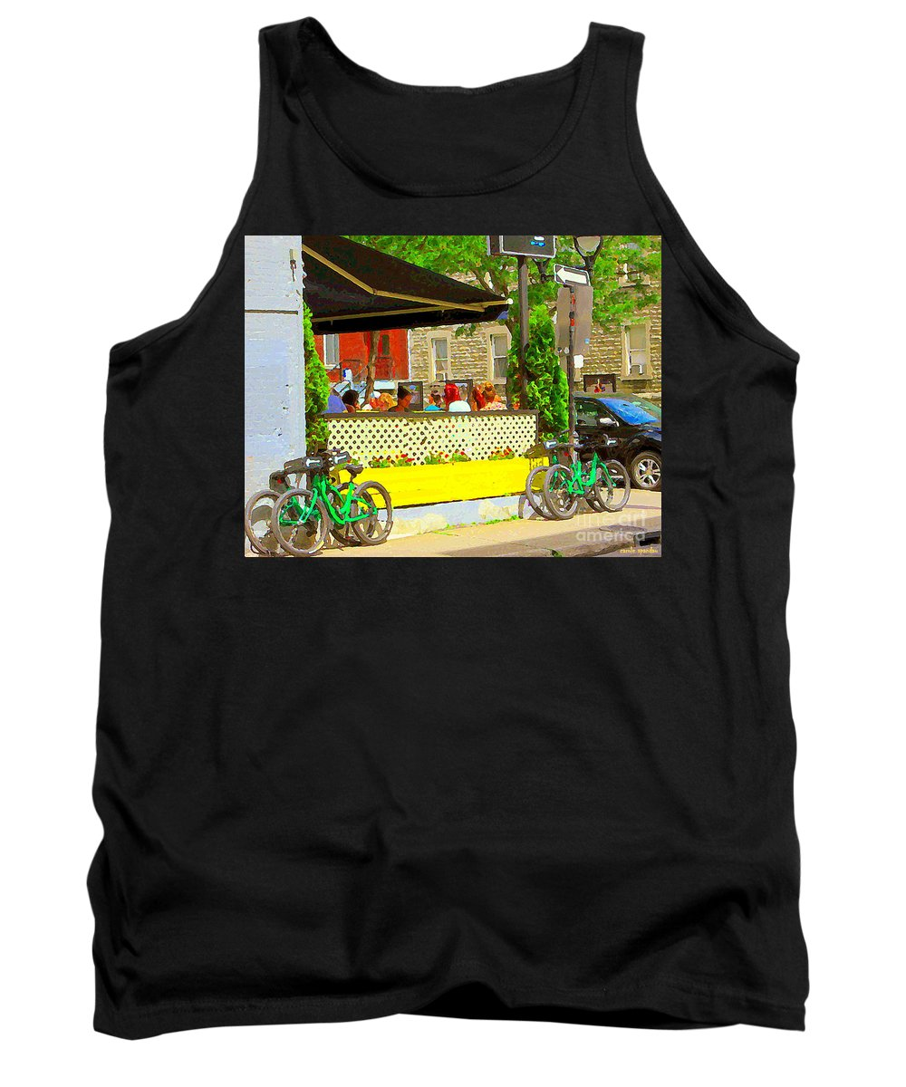 Les Folies De Montreal Tank Top featuring the painting Les Folies De Montreal Cafe Resto Lounge Paris Style Bistro City Scene Carole Spandau by Carole Spandau