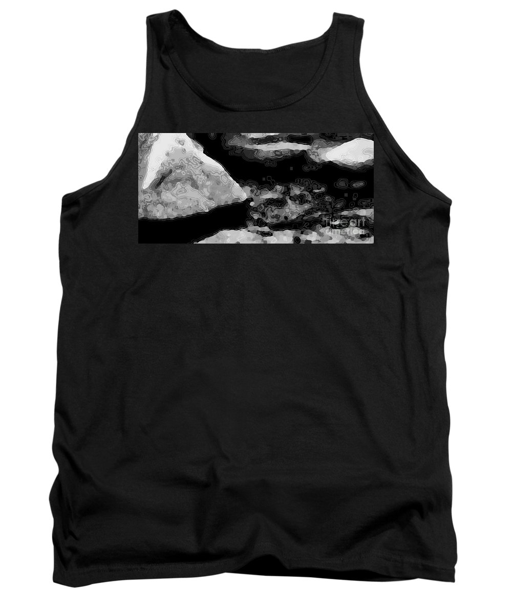 Landscape Tank Top featuring the digital art Light In The Stream Bw by Tim Richards