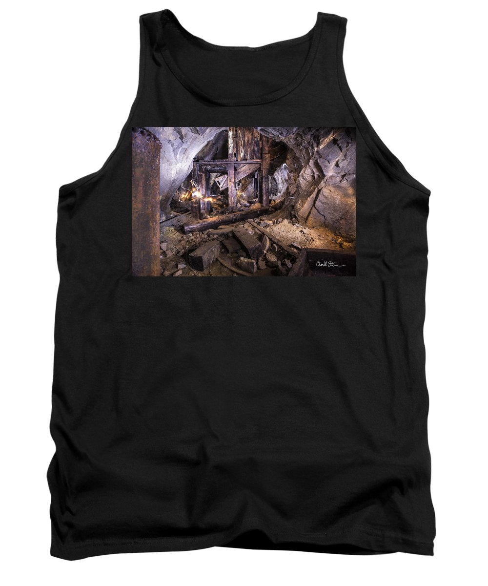 Damon Tank Top featuring the photograph Light Painting In A Gold Mine 2 by Charlie Duncan