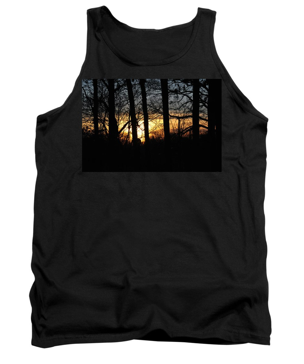 Sunset Tank Top featuring the photograph Light Through The Trees by Christine Crowley