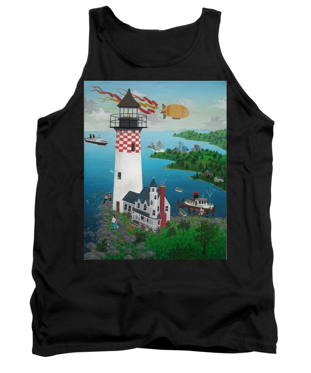 Lighthouse Tank Top featuring the painting Lighthouse Fishing by Robert Logrippo
