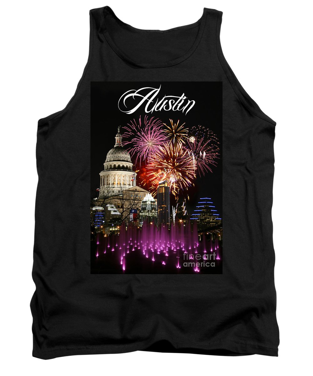 Firework Photographs Tank Top featuring the photograph Lighting Up Austin by Randy Smith