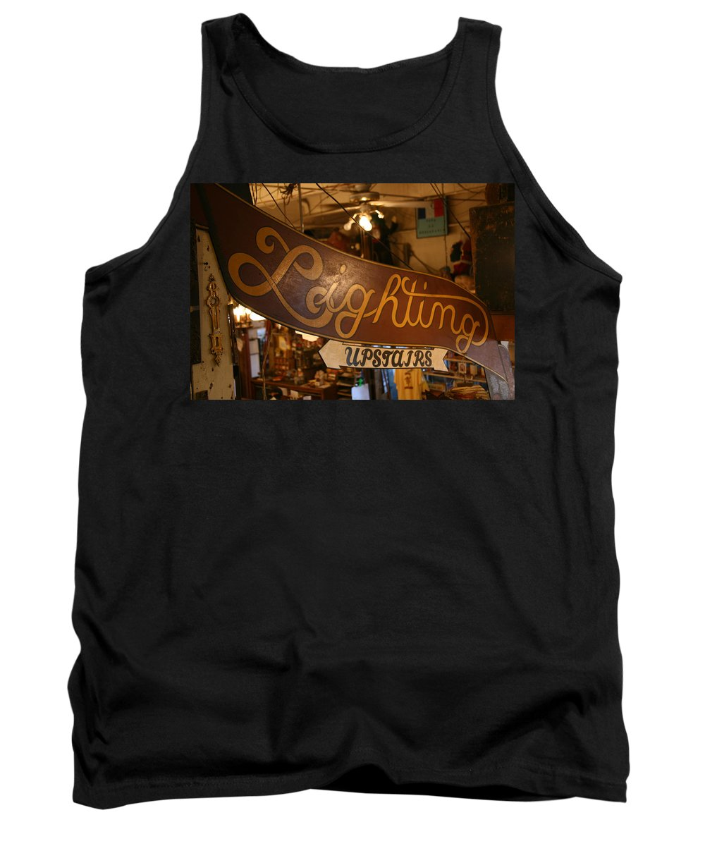 Hippo Hardware Tank Top featuring the photograph Lighting Upstairs Sign by Elizabeth Rose