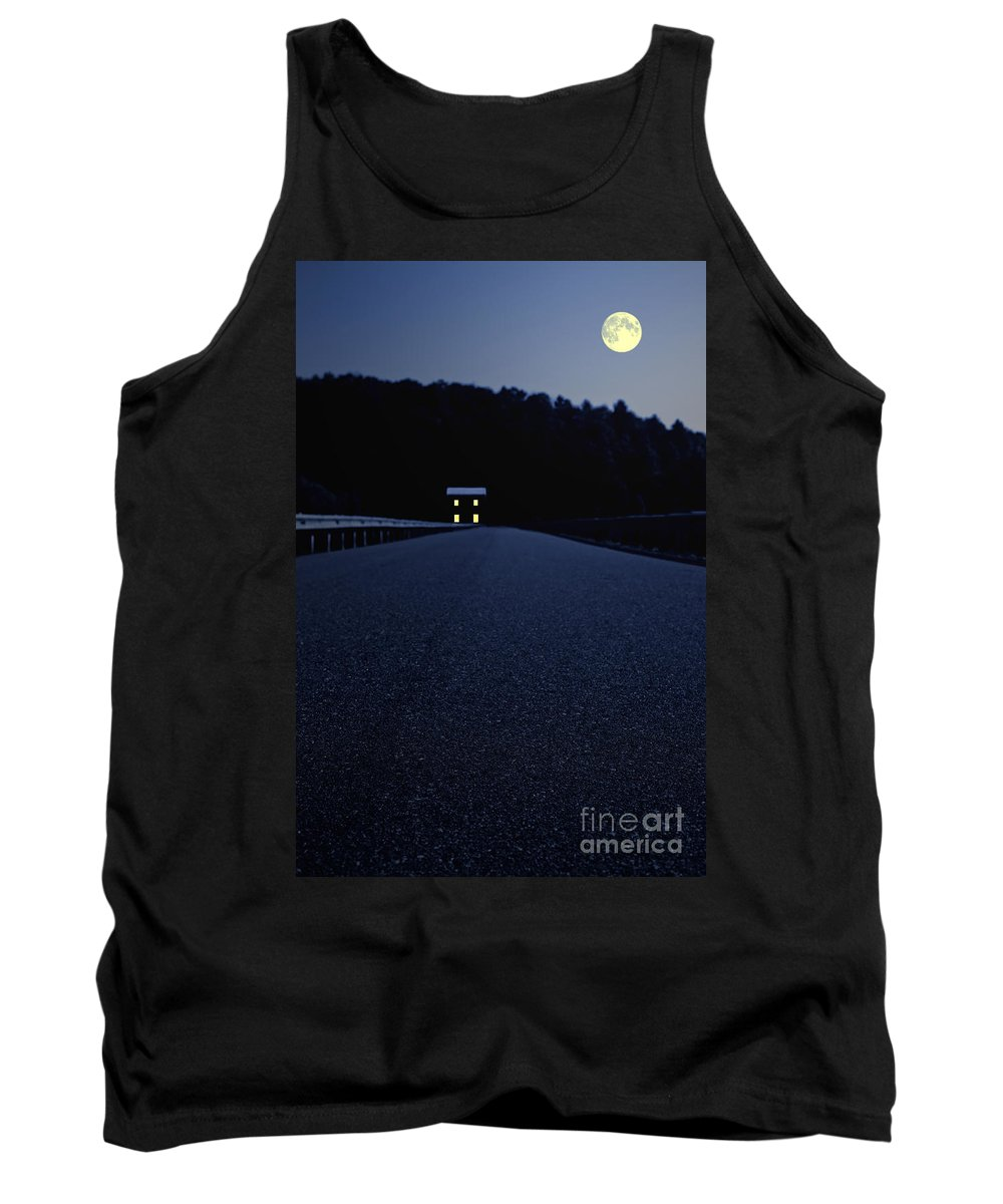 Moon Tank Top featuring the photograph Lights On Up Ahead by Edward Fielding