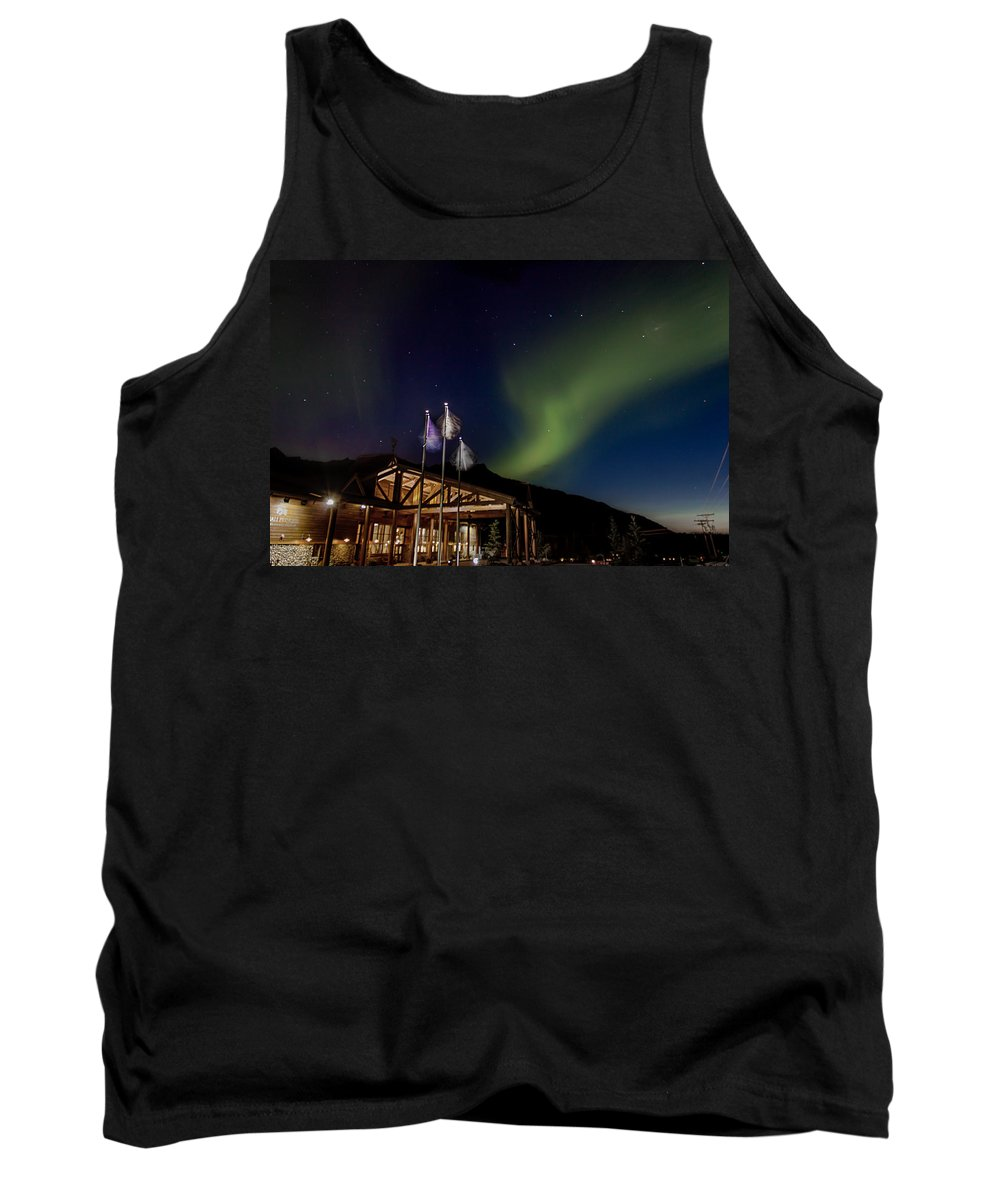 Aurora Tank Top featuring the photograph Lights Over Princess Denali Lodge by Thomas Sellberg