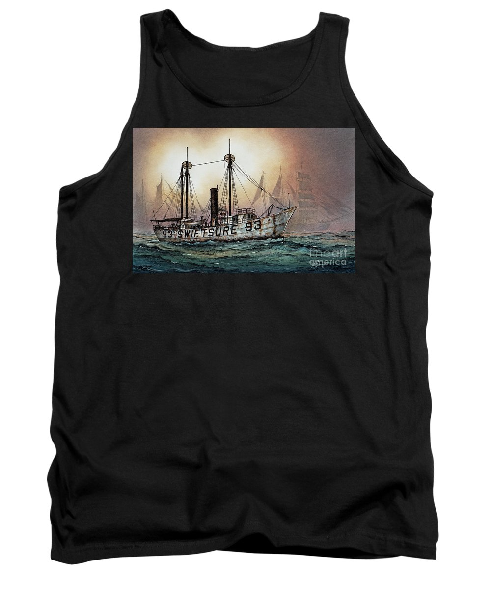 Lighthouse Fine Art Print Tank Top featuring the painting Lightship Swiftsure by James Williamson
