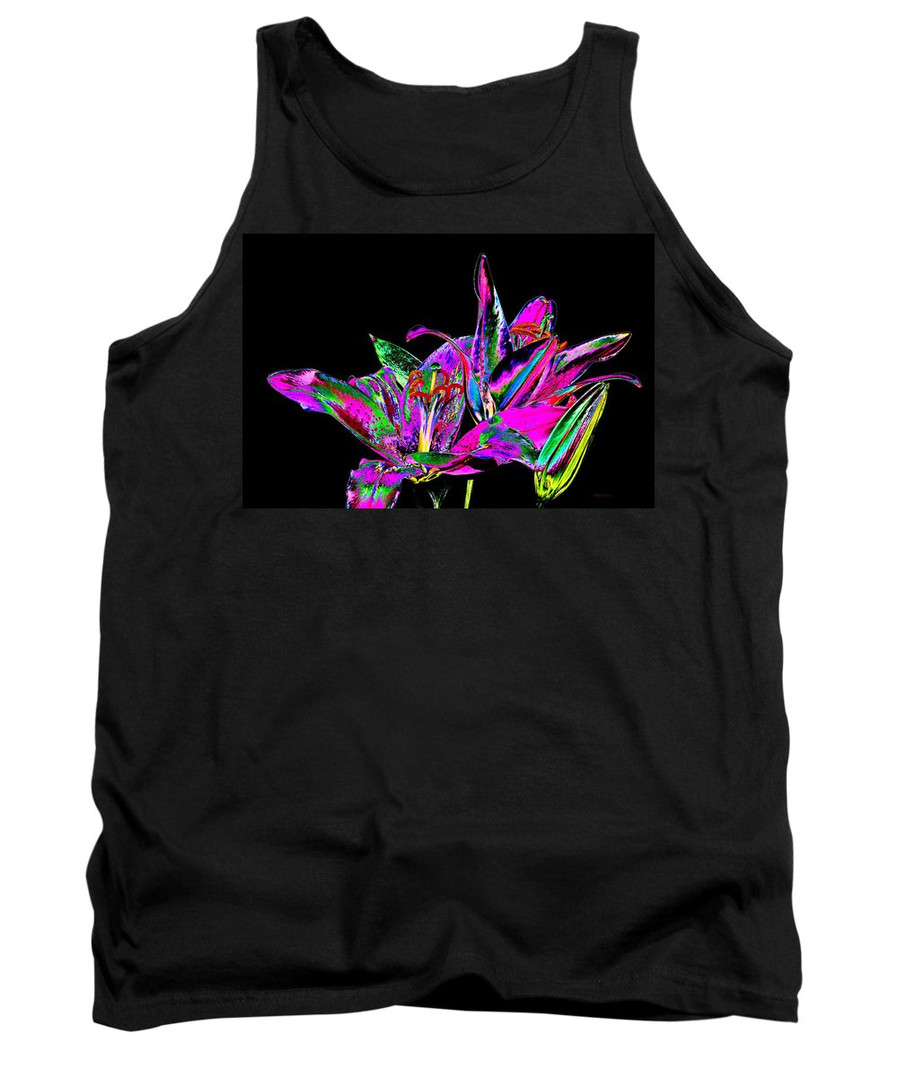 Flowers Tank Top featuring the photograph Lilies Pop Art by Phyllis Denton