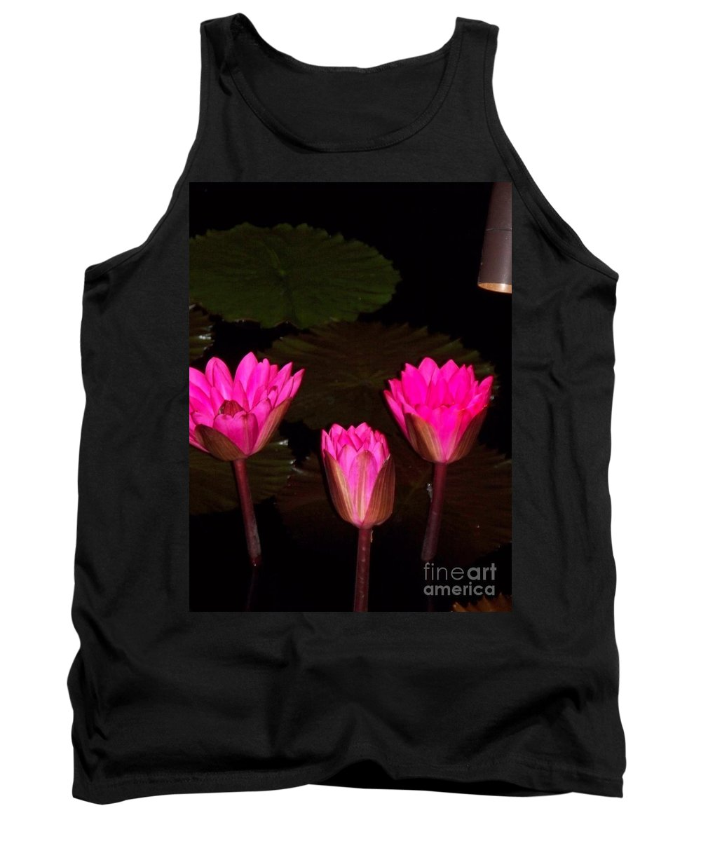 Water Lilies Tank Top featuring the photograph Lily Night Time by Eric Schiabor