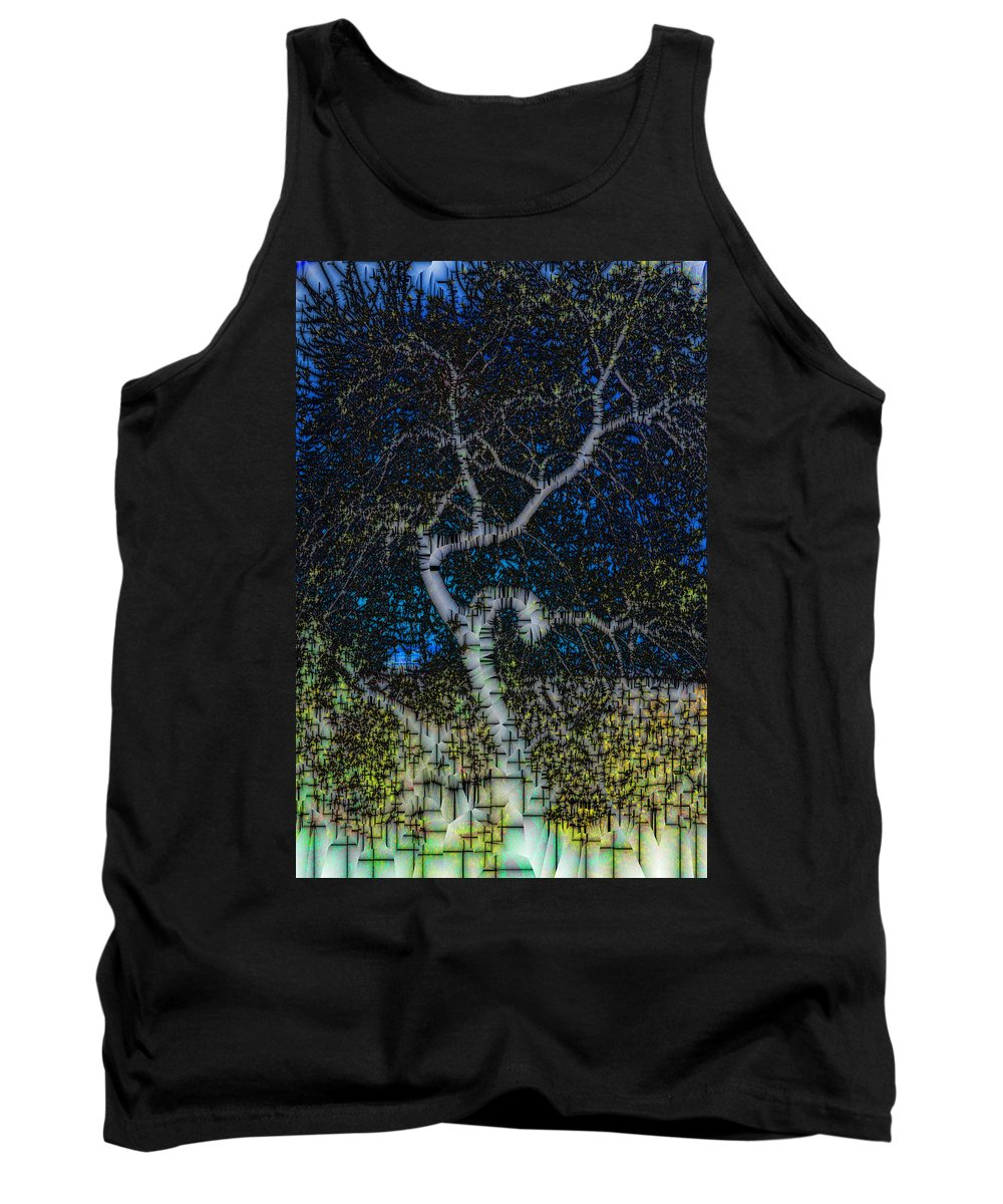 Abstract Tank Top featuring the digital art Limned Desert Tree by Jack Bowman