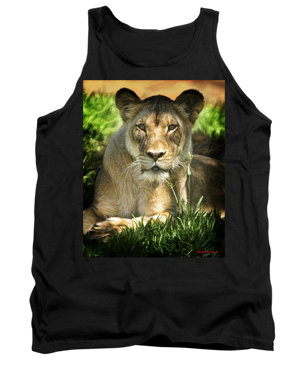 Lion Tank Top featuring the photograph Lion In The Grass by Blake Richards