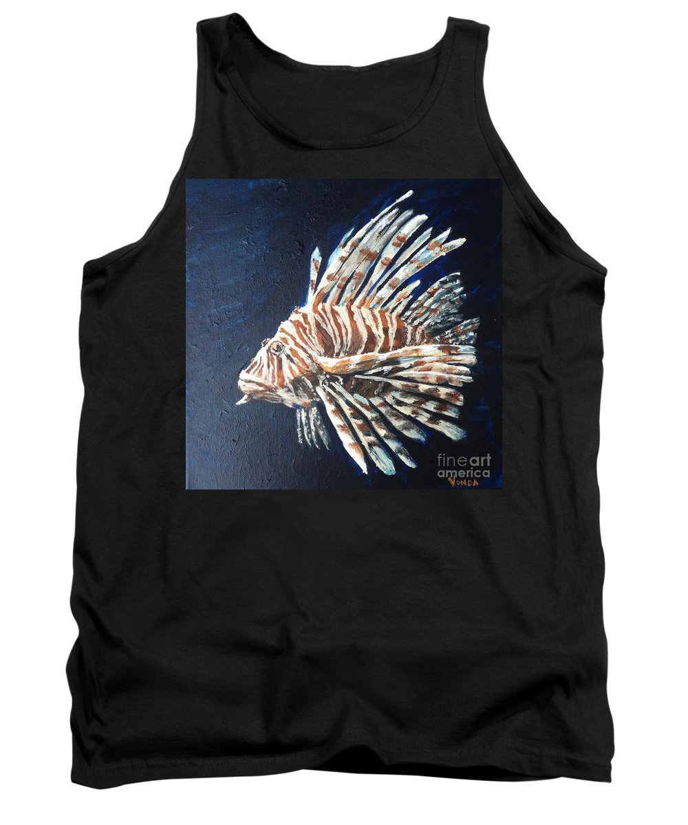 Lion Fish Tank Top featuring the painting Lionking by Vonda Lawson-Rosa