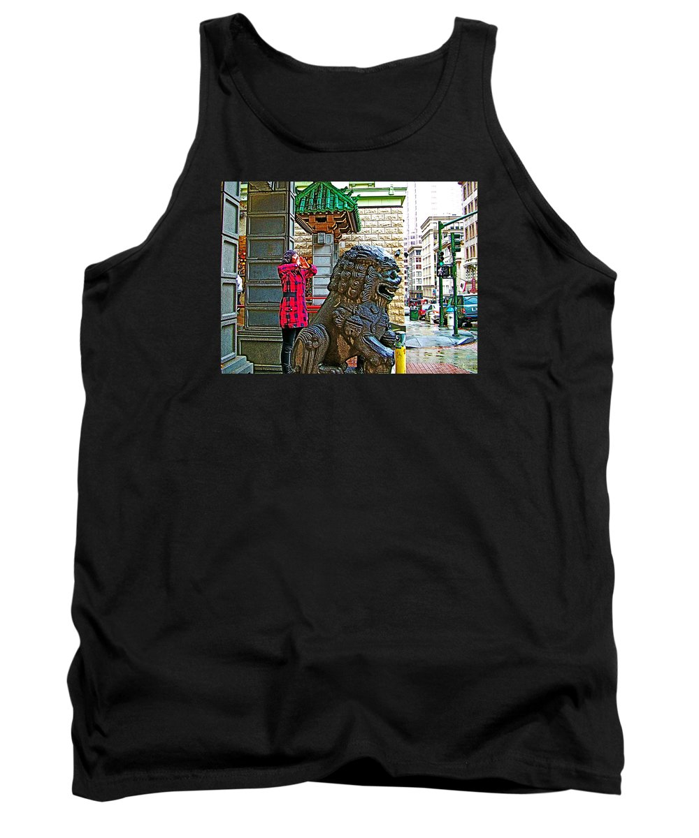 Lions Roar At Entry Gate To Chinatown In San Francisco Tank Top featuring the photograph Lions Roar At Entry Gate To Chinatown In San Francisco-california by Ruth Hager