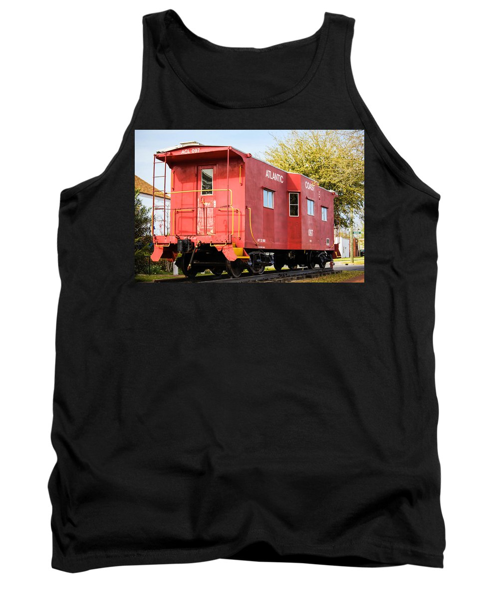 Jacksonville Tank Top featuring the photograph Little Red Caboose by Paula OMalley