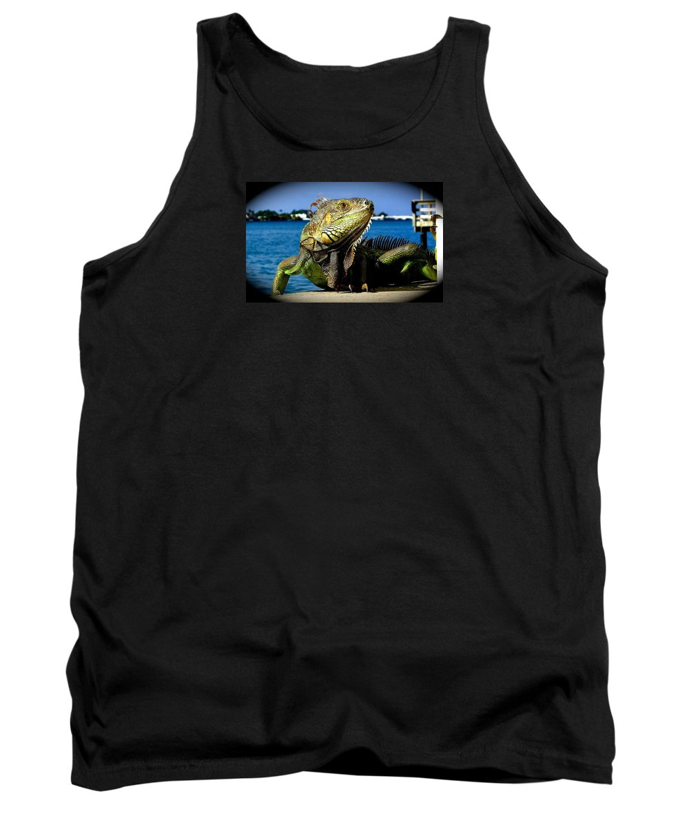 Lizard Print Tank Top featuring the photograph Lizard Sunbathing In Miami by Monique's Fine Art