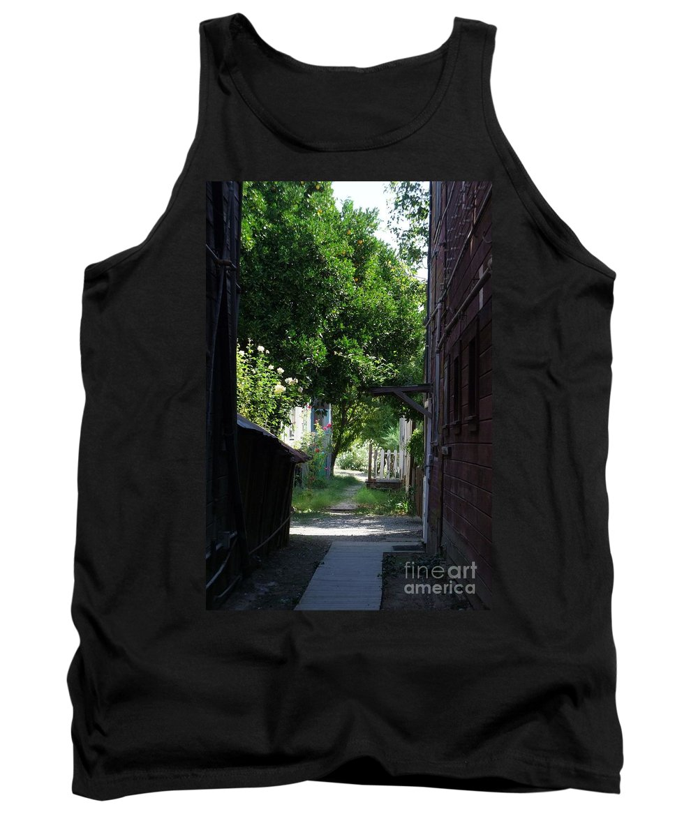 Green Tank Top featuring the photograph Locke Chinatown Series - Alley With Trees - 5 by Mary Deal