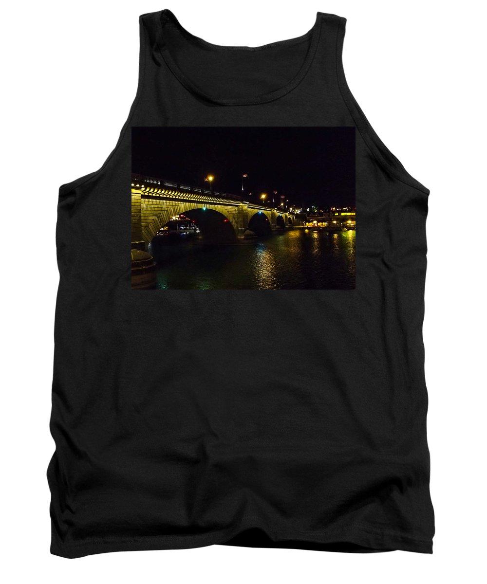 Lake Havasu City Tank Top featuring the photograph London Bridge Night by Angus Hooper Iii