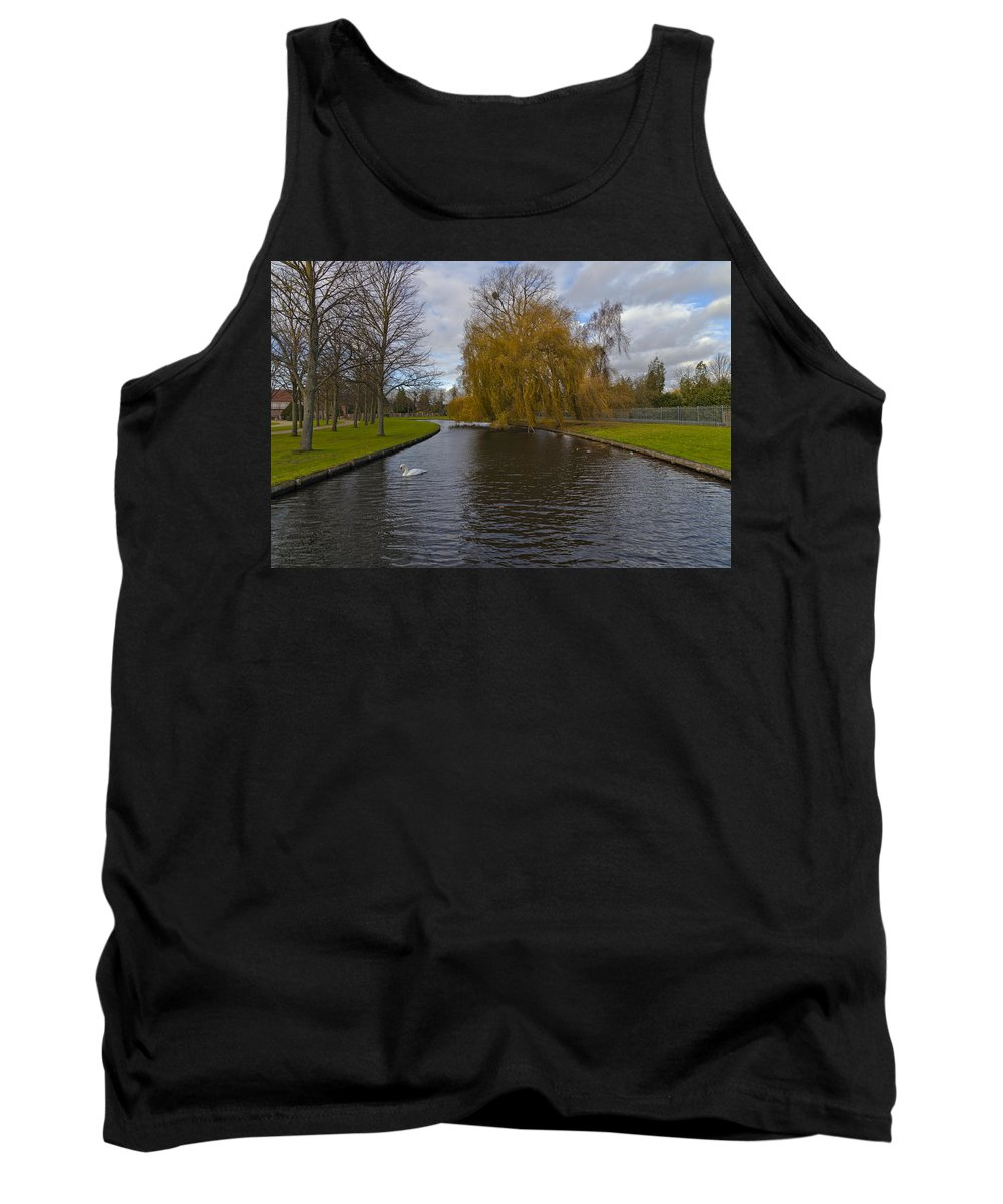 Autumn Tank Top featuring the photograph Lonely Swan by Maj Seda