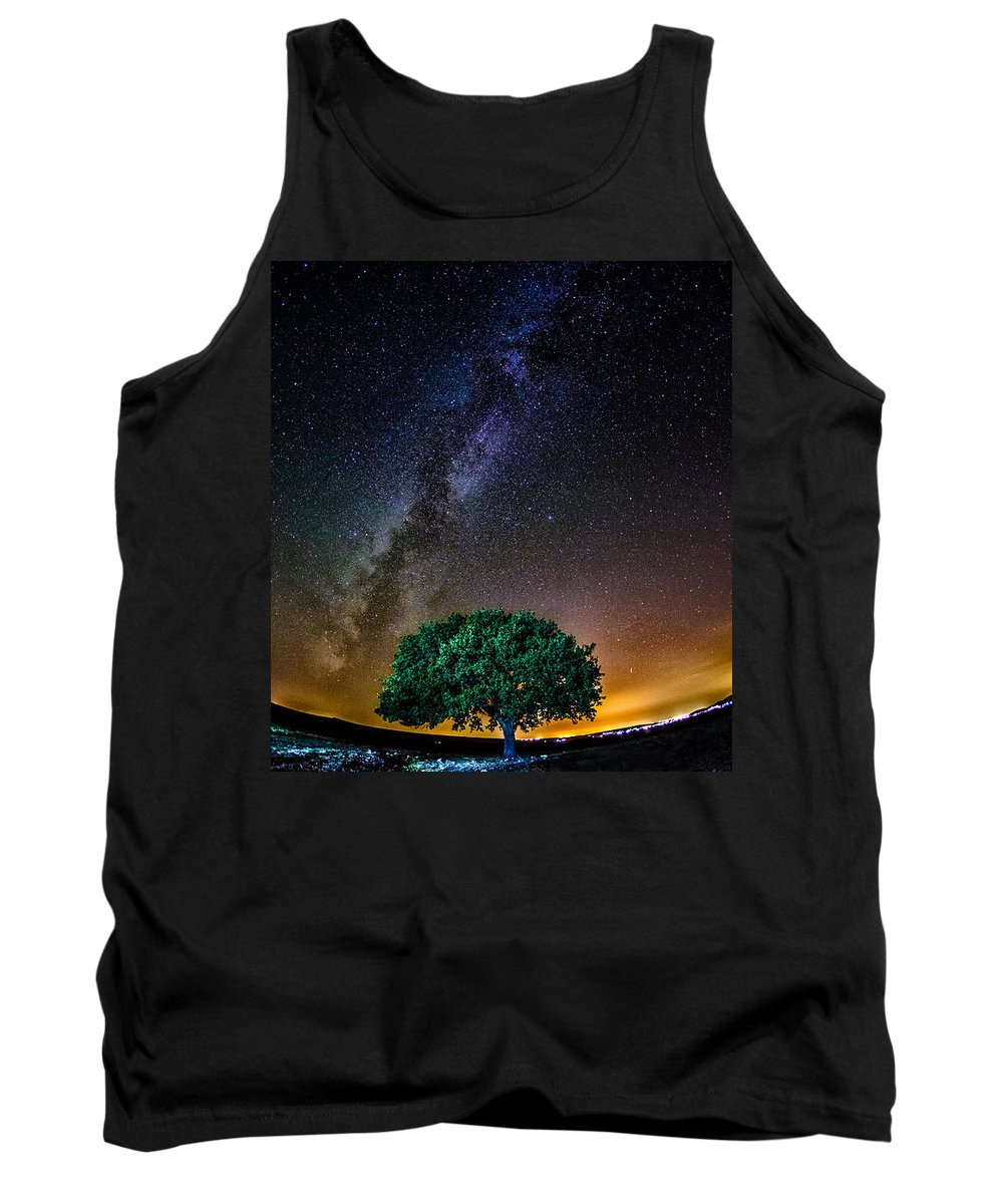 Tree Tank Top featuring the pyrography Lonely Tree by Cristi Munteanu