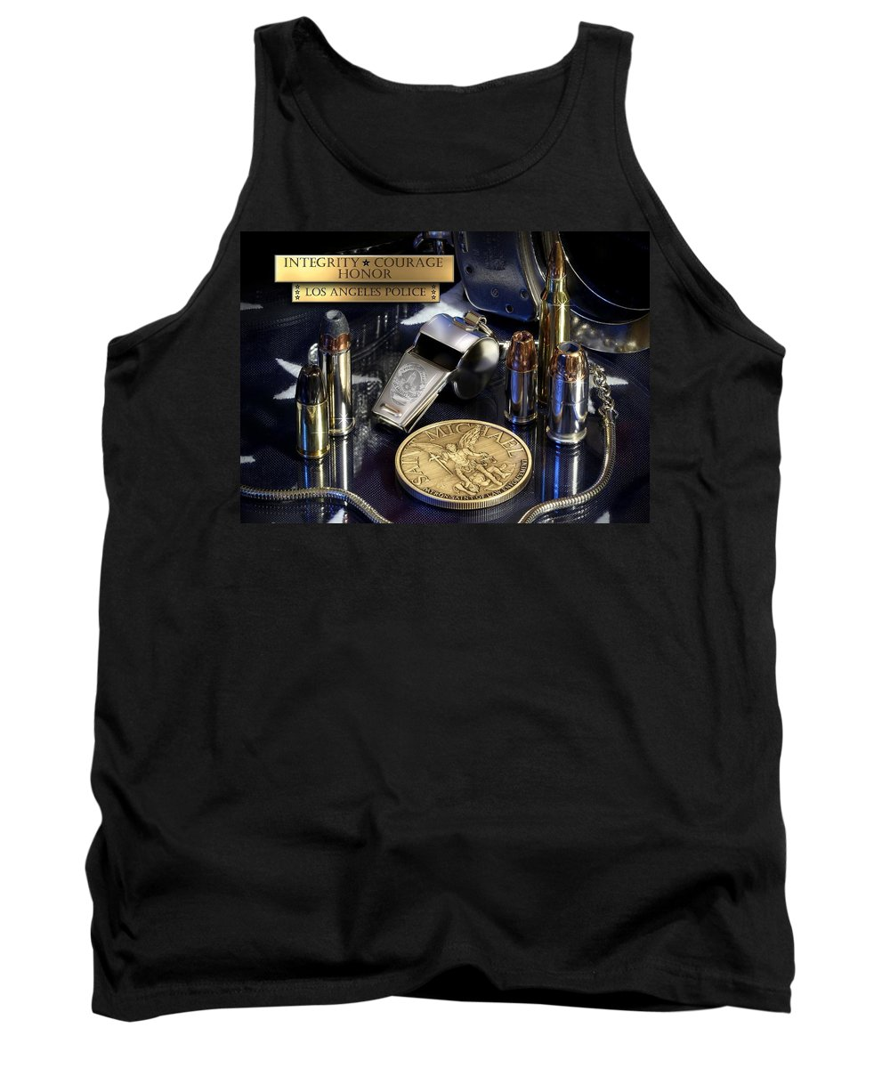 Los Angeles Police Tank Top featuring the photograph Los Angeles Police St Michael by Gary Yost