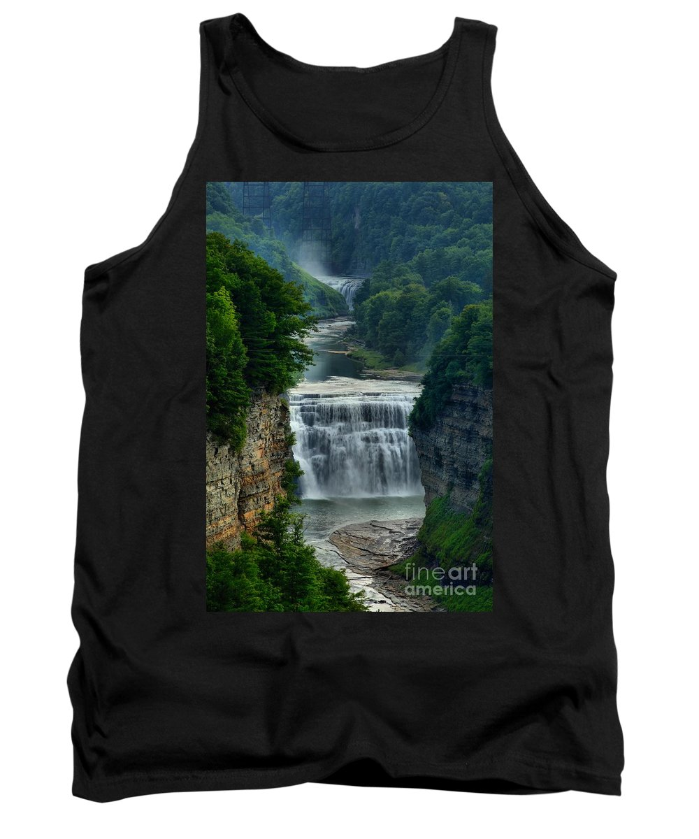 Letchworth Tank Top featuring the photograph Lush Letchworth Inspiration Point by Adam Jewell