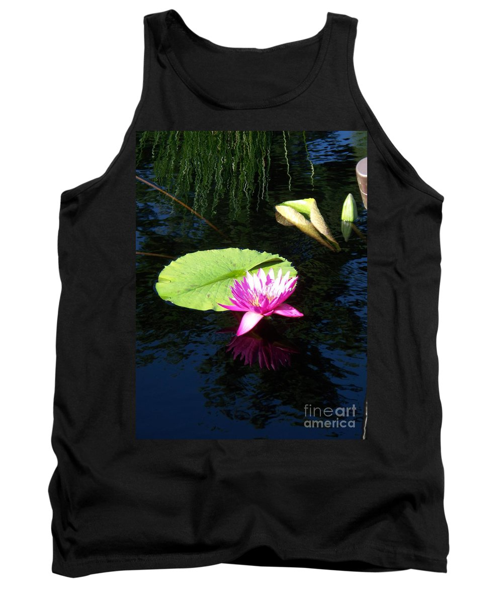 Water Lilies Tank Top featuring the photograph Magenta Lily Monet by Eric Schiabor