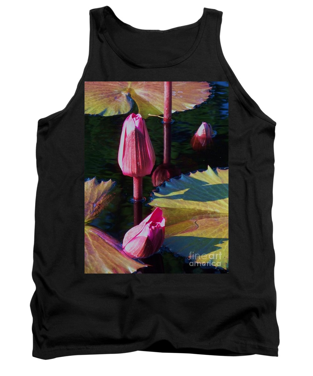 Photograph Tank Top featuring the photograph Magenta Lily Pads by Eric Schiabor