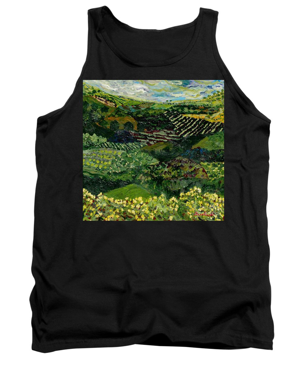 Landscape Tank Top featuring the painting Majestic Valley by Allan P Friedlander