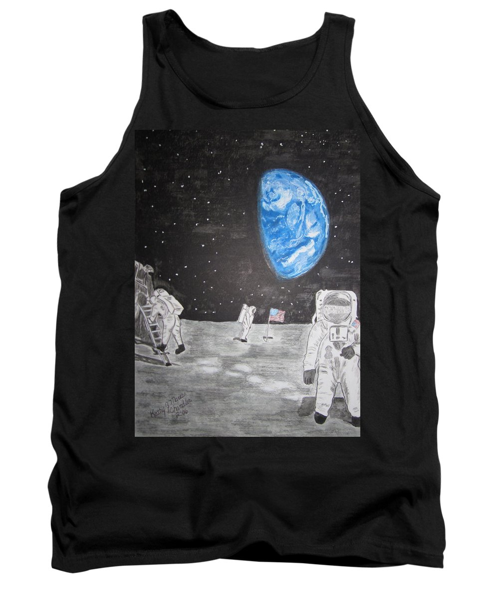 Stars Tank Top featuring the painting Man On The Moon by Kathy Marrs Chandler