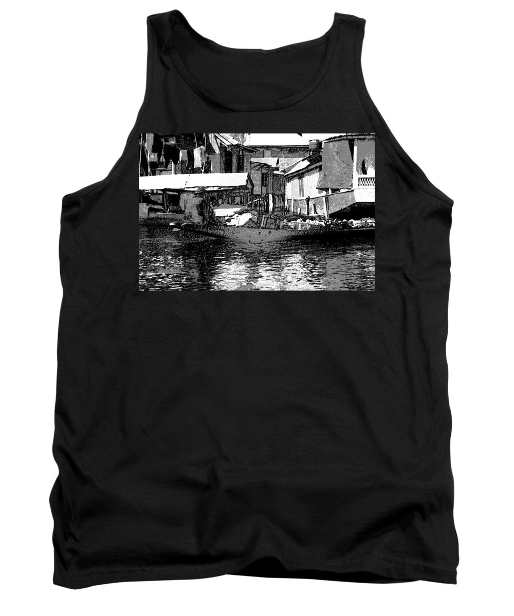 Canon Tank Top featuring the digital art Man Plying A Small Boat Laden With Vegetables In The Dal Lake by Ashish Agarwal