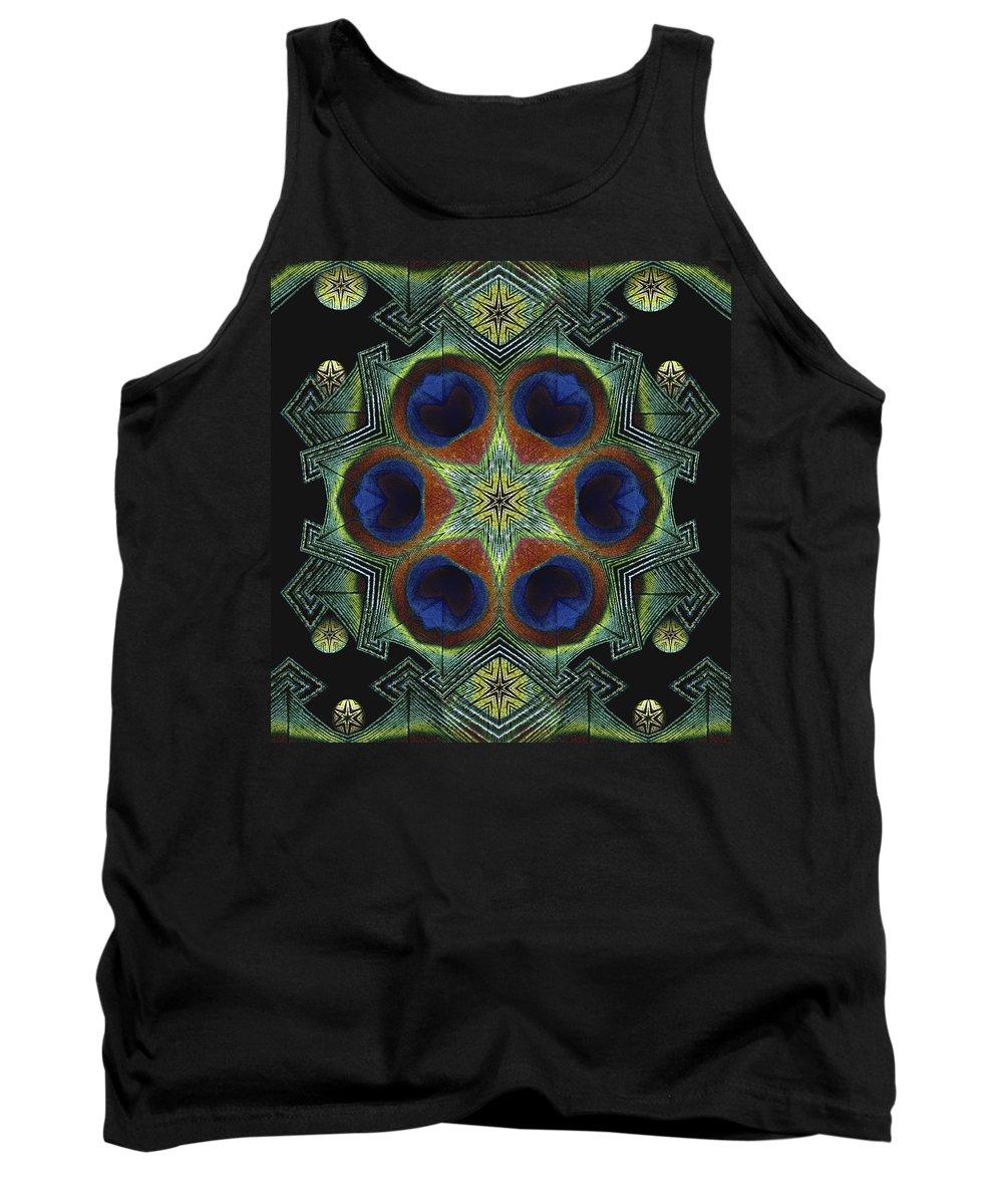 Mandala Tank Top featuring the digital art Mandala Peacock by Nancy Griswold