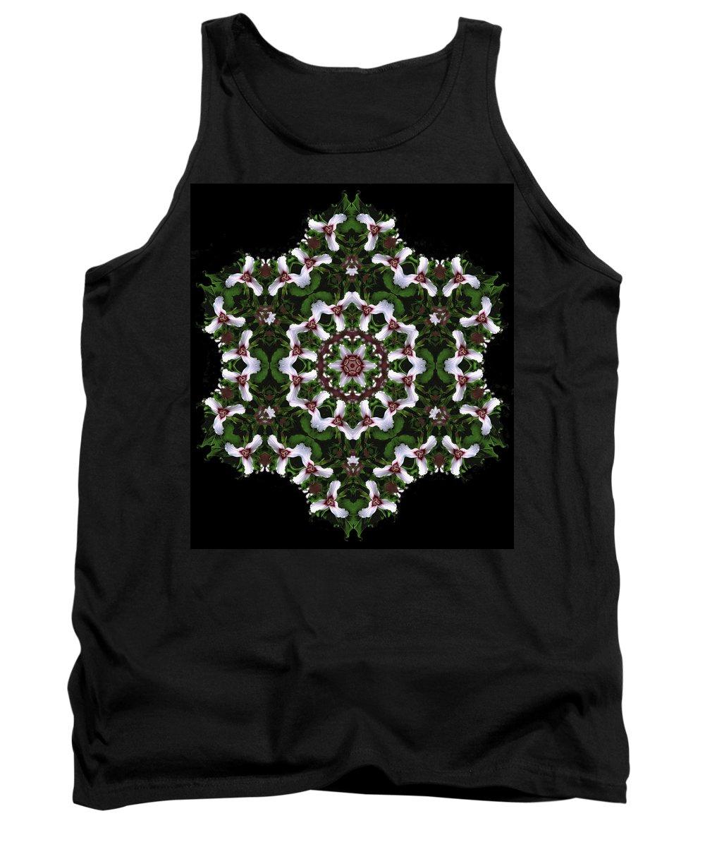 Mandala Tank Top featuring the digital art Mandala Trillium Holiday by Nancy Griswold