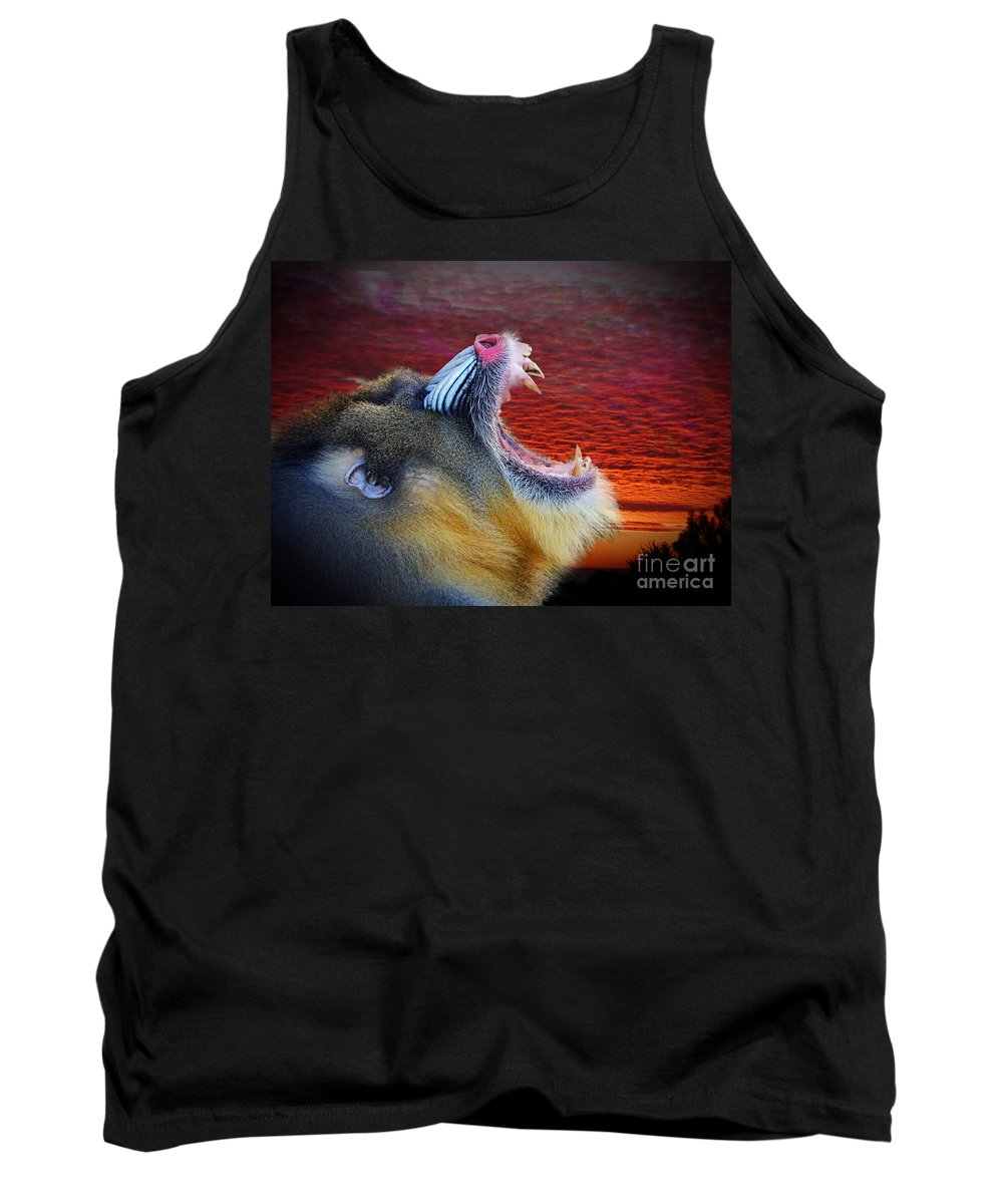 Mandrill Tank Top featuring the photograph Mandrill Roaring At The End Of A Day by Jim Fitzpatrick
