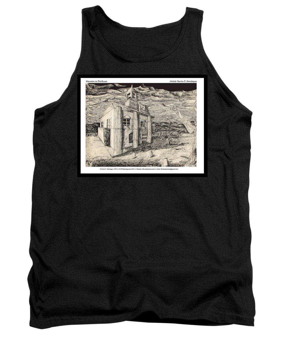 Mansion Tank Top featuring the digital art Mansion In Darkness by Kevin Montague