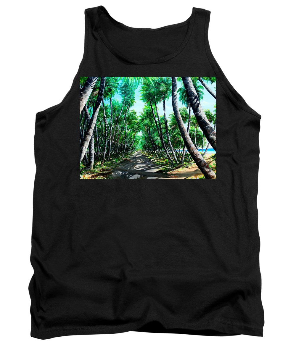 Coconut Trees Tank Top featuring the painting Manzanilla Coconut Estate by Karin Dawn Kelshall- Best