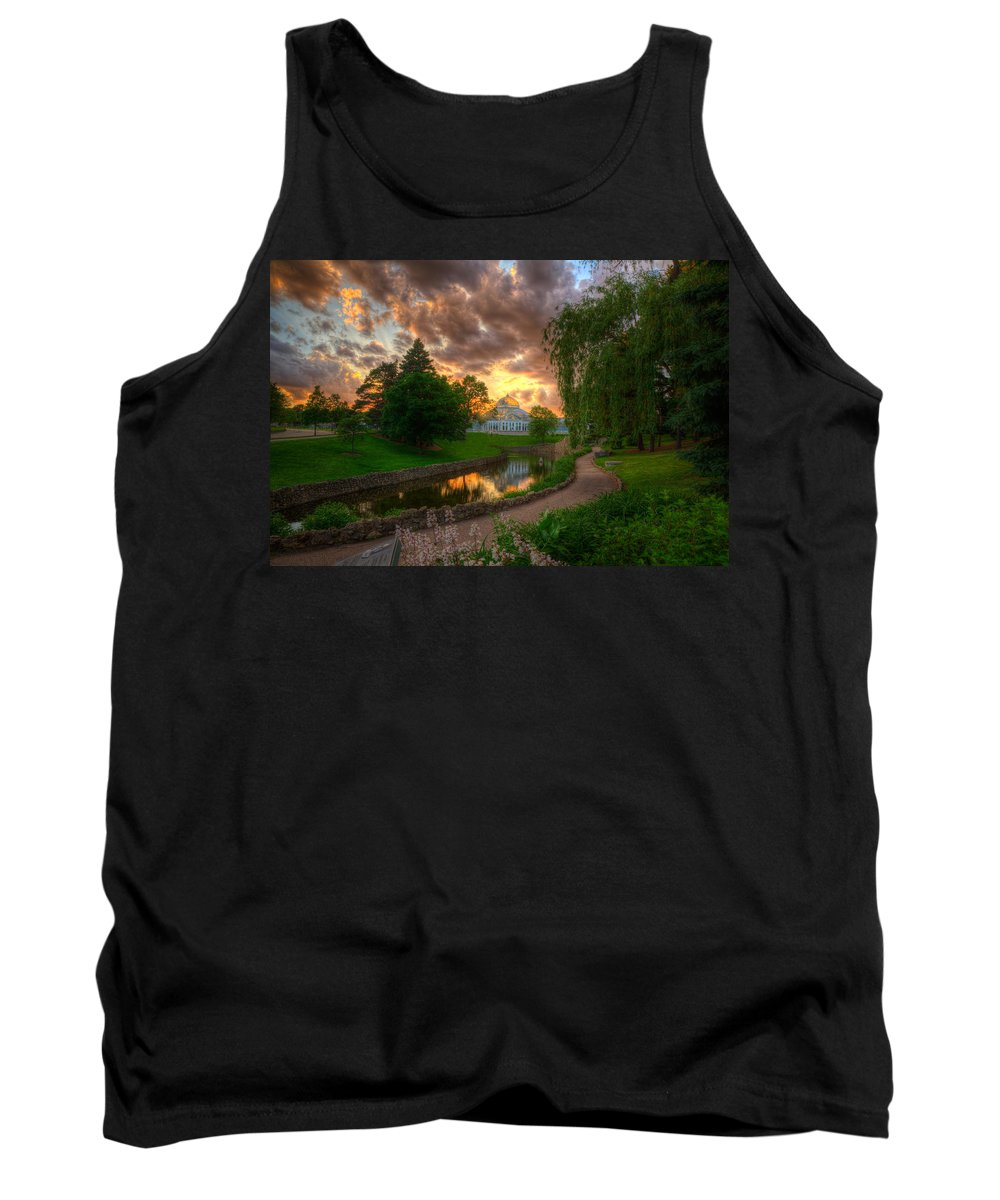Como Tank Top featuring the photograph Marjorie Mcneely Conservatory Reflections by Wayne Moran