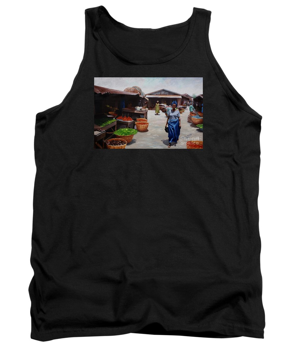 Market Tank Top featuring the painting Market Scene by Sony Ejiro Akpotor