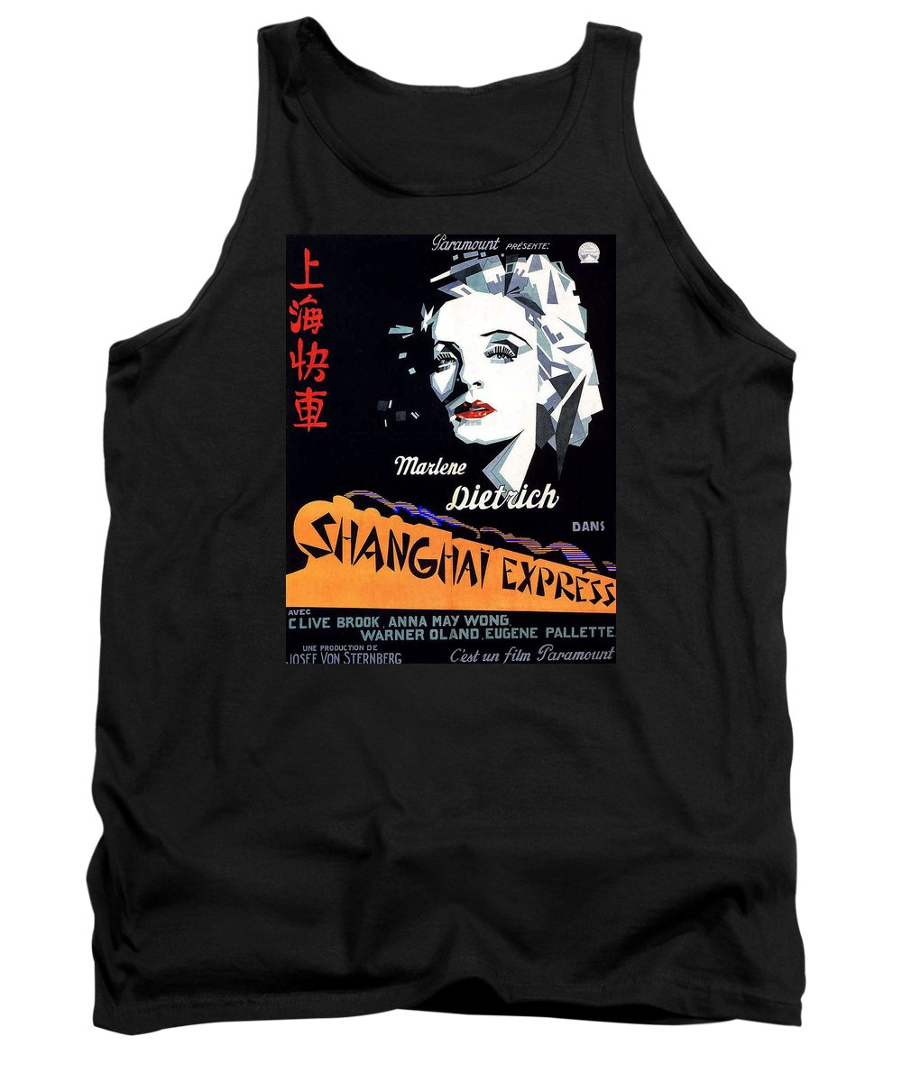 Marlene Dietrich Art Deco French Poster Shanghai Express 1932 Tank Top featuring the photograph Marlene Dietrich Art Deco French Poster Shanghai Express 1932-2012 by David Lee Guss