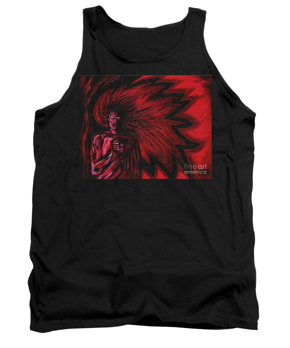Myth Tank Top featuring the painting Mars Rising by Roz Abellera