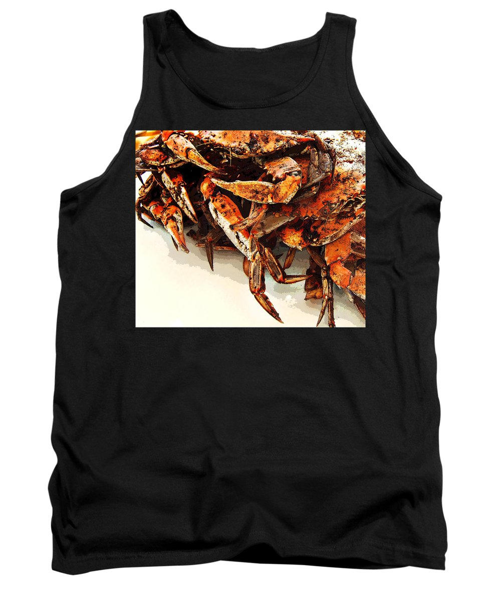 St Michaels Tank Top featuring the digital art Maryland Crabs by Ginger Wakem