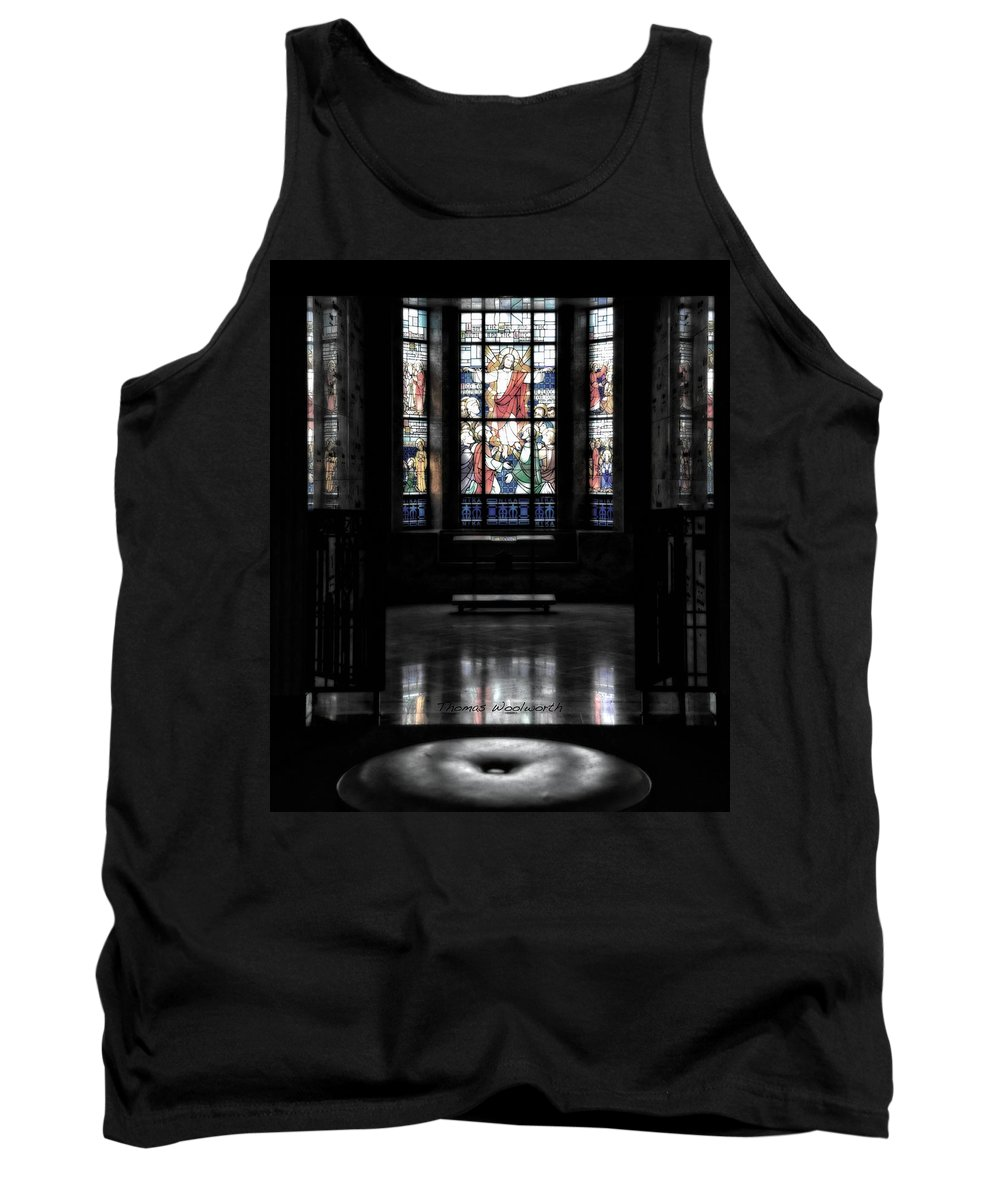 Glass Art Tank Top featuring the photograph Mausoleum Stained Glass 05 by Thomas Woolworth