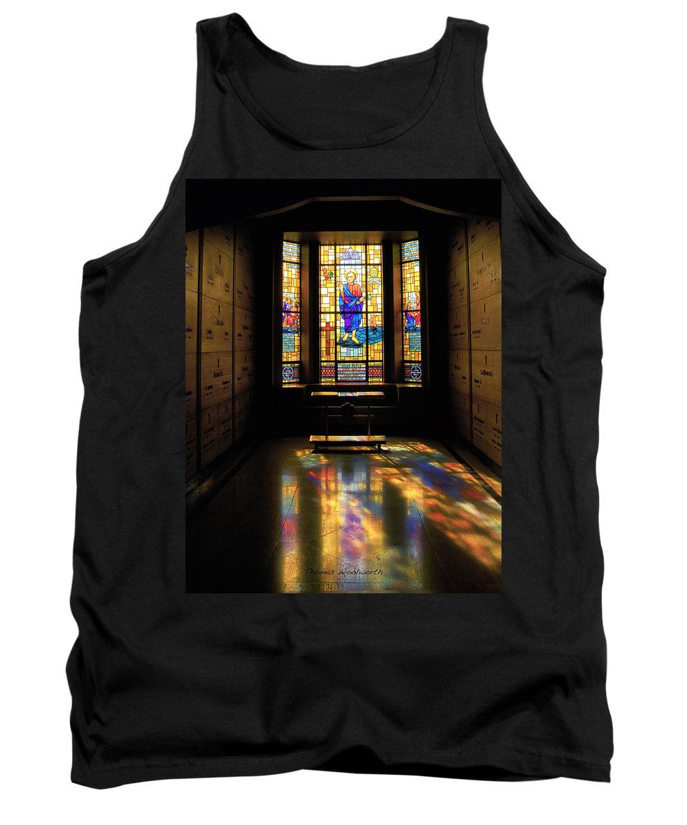 Glass Art Tank Top featuring the photograph Mausoleum Stained Glass 06 by Thomas Woolworth