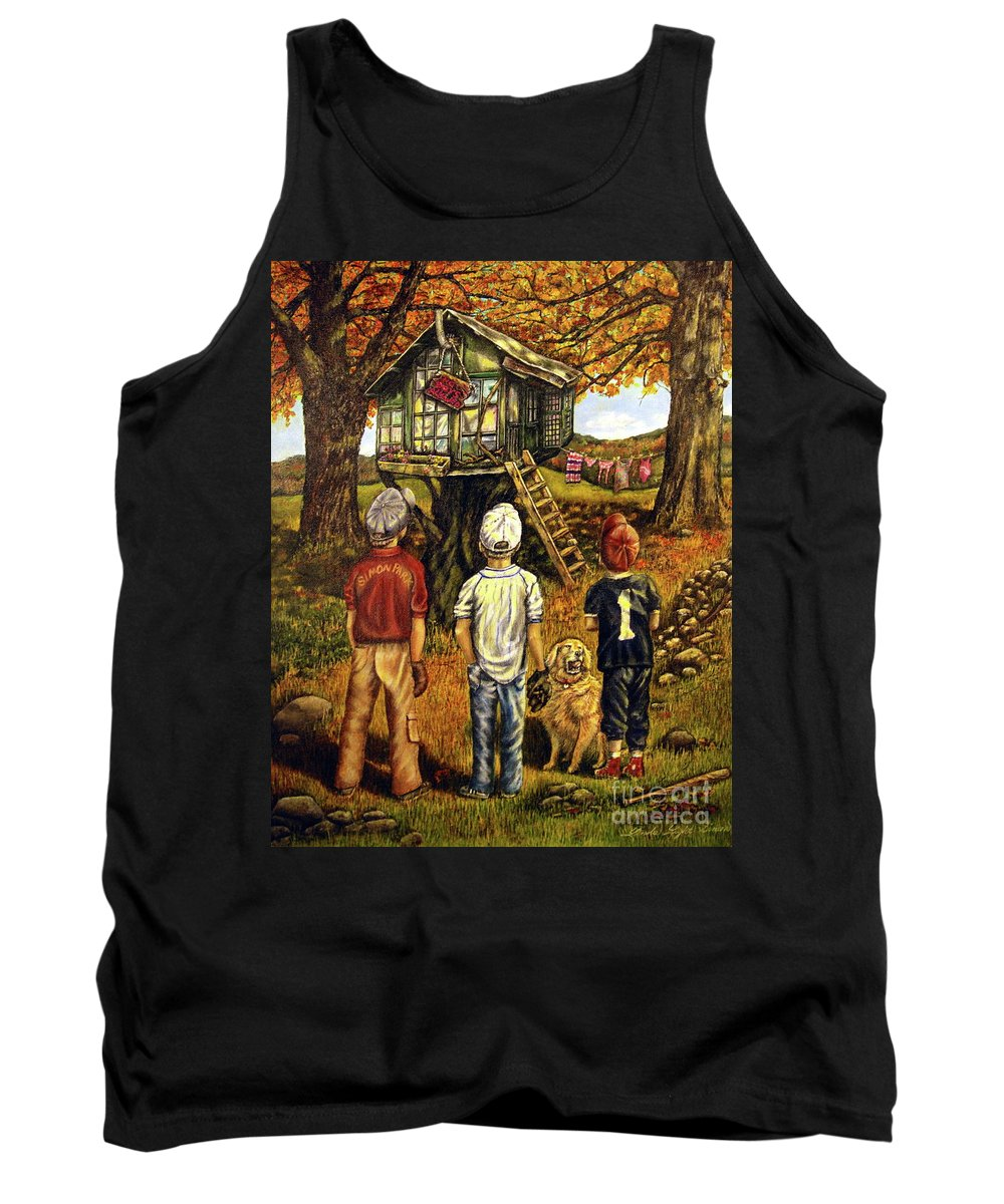 Trees Tank Top featuring the painting Meadow Haven by Linda Simon