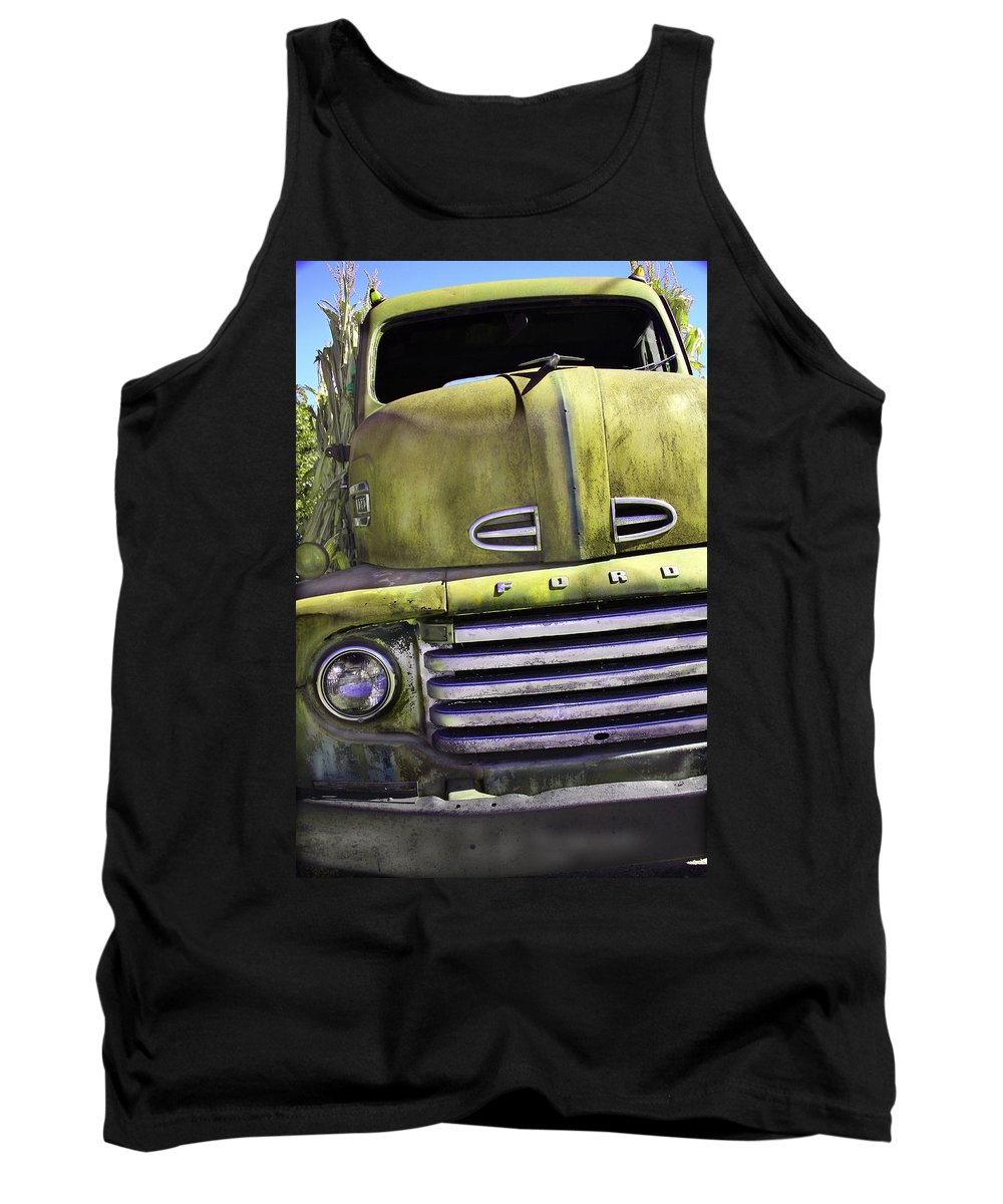 Steven Bateson Tank Top featuring the photograph Mean Green Ford Truck by Steven Bateson