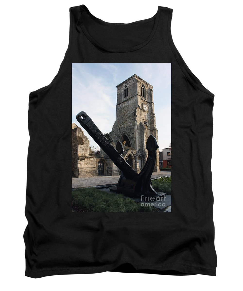 Qe2 Tank Top featuring the photograph Merchant Sailors Memorial With Q.e.2 Anchor by Terri Waters